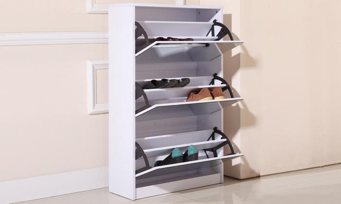 Metro Mirrored 3 Door Shoe Cabinet With Full Length Mirror: Metro Mirrored  3 ...