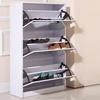Metro Mirrored 3-Door Shoe Cabinet with Full-Length Mirror