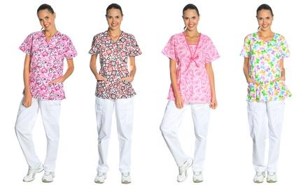 Women's Printed Scrubs Top