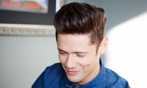 Bavaria Gents Salon L.L.C.: Men's Haircut and Shave with an Optional Clean Skin Treatment and Mani-Pedi at Bavaria Gents Salon (Up to 59% Off)