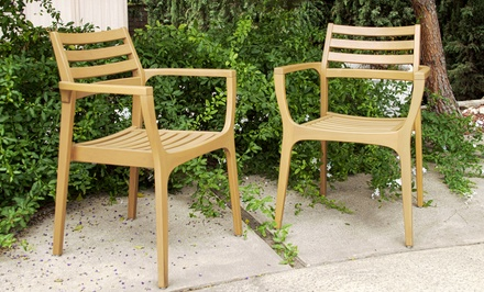 Set of 2 Eucalyptus Wood Chairs