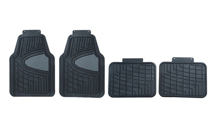 4-Piece Heavy-Duty All-Weather Rubber Auto Floor Mat Set