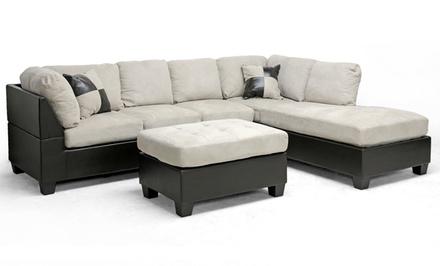 Sectional sofa and ottoman set groupon goods for Sectional sofa groupon