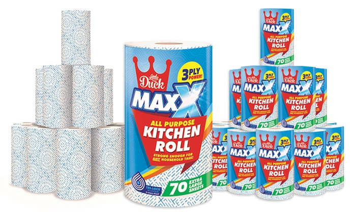 12 or 24 Little Duck MAXX Three-Ply All Purpose Kitchen Towel Rolls (£11.98)