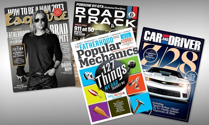 Father's Day Magazine Subscriptions: $10 for Two Men's Magazine Subscriptions from Hearst Magazines. ($20 List Price). 4 Titles Available. Free Shipping.