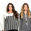 Women's Black and White Tops