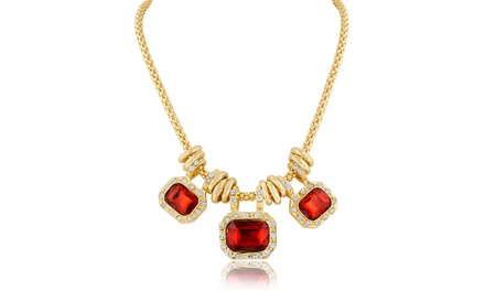 18 Karat Gold Plated Ruby-Red Glass and Crystal Statement Necklace