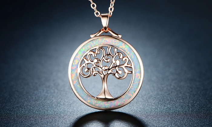 Up to 64 off on tree of life fire opal necklace groupon goods tree of life necklace in fire opal and rose gold plating by peermont aloadofball Images