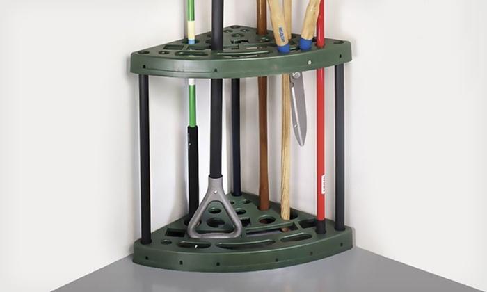Yard Tool Corner Storage Rack: Yard Tool Corner Storage Rack with 18 Slots. Free Returns.