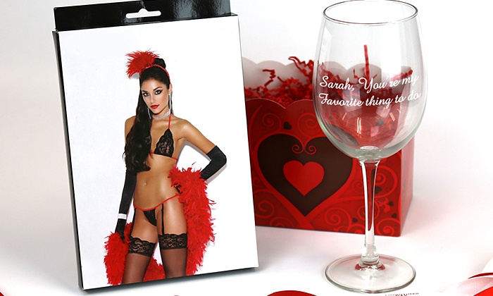 ShopOnlineDeals: $39.99 for a Personalized Wine Glass with a Bra, G-string, and Garters from ShopOnlineDeals ($99.99 Value)