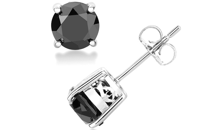 2 CTTW Black Diamond Solitaire Earrings - By Femme Luxe : 2 CTTW Black Diamond Solitaire Earrings - By Femme Luxe