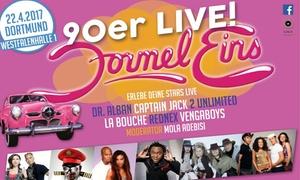 Gala Entertainment: 2 Tickets für Formel Eins 90er LIVE am 22.04.2017 um 19 Uhr in der Westfallenhalle in Dortmund (50% sparen)