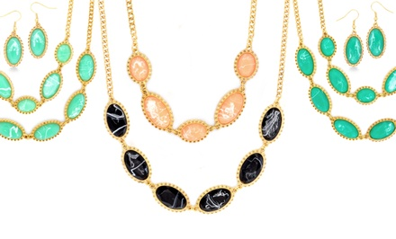 18-Karat Gold-Plated Oval Statement Necklace and Earrings Set
