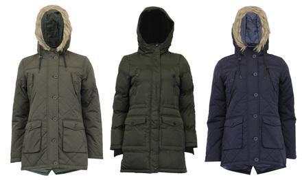 Brave Soul Astra or Cheltenham Women's Sherpa Fleece Hooded Padded Coat