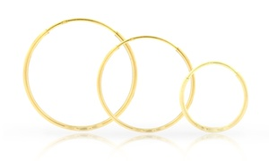 14k Solid Gold Half Diamond Cut Endless Hoop Earrings