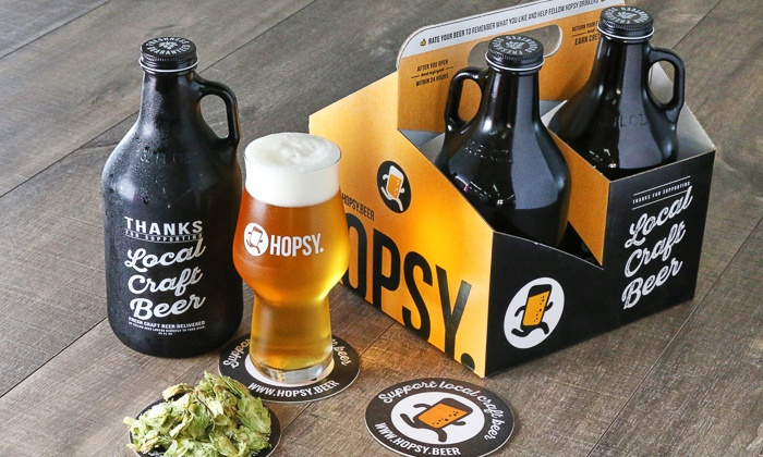 $20 for Four Craft-Beer-Filled 32-Ounce Growlettes with Free Delivery at HOPSY ($50 Value)
