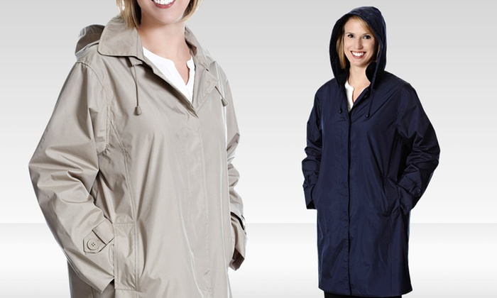 Totes Weather Stoppers Women's Raincoat with Removable Hood: Totes Weather Stoppers Women's Raincoat with Removable Hood in Navy or Khaki. Free Shipping and Returns.
