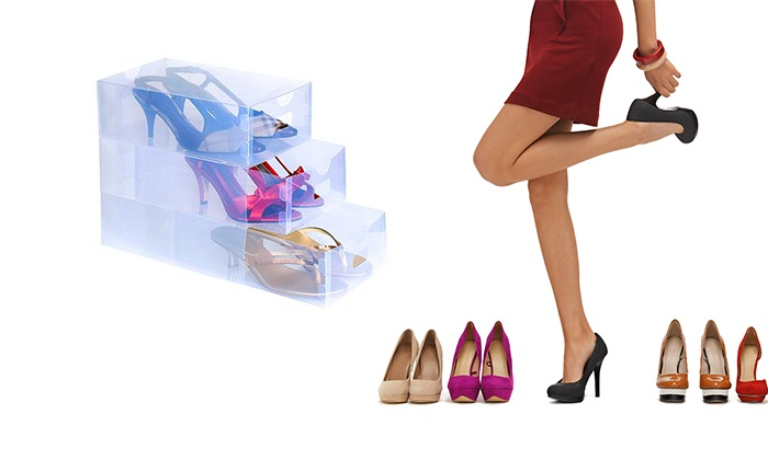 Groupon Goods Global GmbH: Box trasparenti per scarpe e accessori. Varie quantità disponibili da 12,99 €