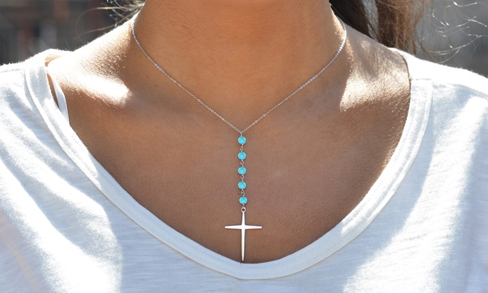 2.00 CTTW Genuine Turquoise Beaded Cross Necklace in Sterling Silver