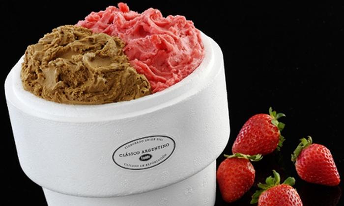 Freddo - Freddo: $72 en vez de $145 por un kilo de helado o $89 en vez de $178 con 1 pote de 450 g de dulce de leche incluido en Freddo