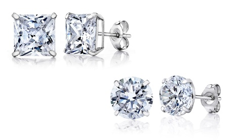 14K White Gold Stud Earrings Made with Swarovski Elements