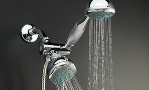 Chrome 5-function Deluxe Twin Showerhead With Massager