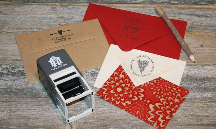 Mason Row: Custom Rectangular or Square Self-Inking Stamp or a Personalized Trio Stamper from Mason Row (Up to 56% Off)