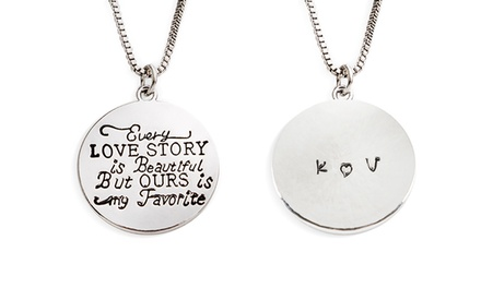 Rhodium Plated Every Love Story Circle Pendant from Stamp the Moment