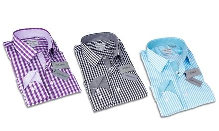 Berlioni Men's Comfort-Fit Convertible Cuff Dress Shirt