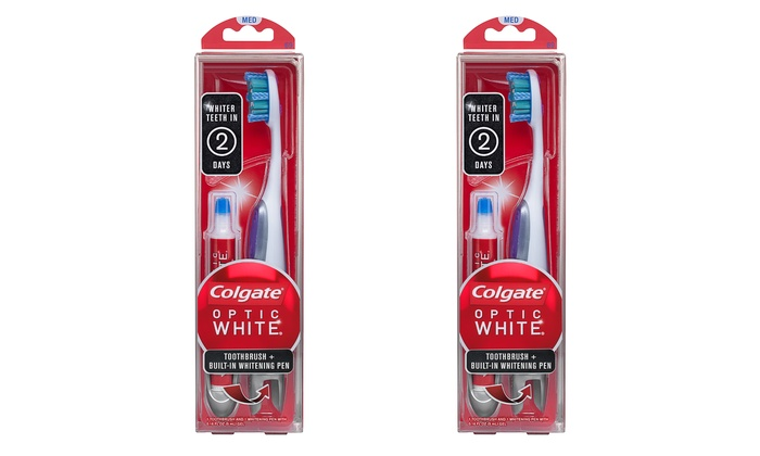 2 Pack Of Colgate Optic White Toothbrushes With Whitening Pen