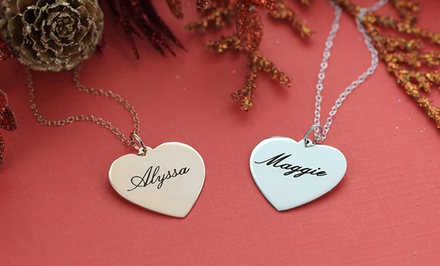Personalized Heart Sterling Silver Necklaces. Three Options Available from $24.99–$29.99.