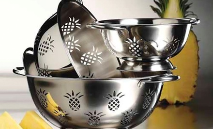 3-Piece Set of Stainless Steel Colanders with Pineapple Design