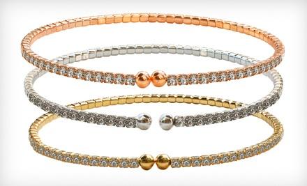 Set of Three 2-Millimeter Czech Crystal Bracelets: Three Gold - Czech Crystal Bracelets in