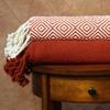 Ivory/Brick Diamond-Textured 100% Cotton Throw Blankets (2-Pack)