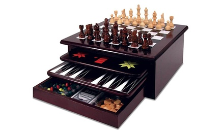 Deluxe 15-in-1 Wooden Tabletop Board Game Set
