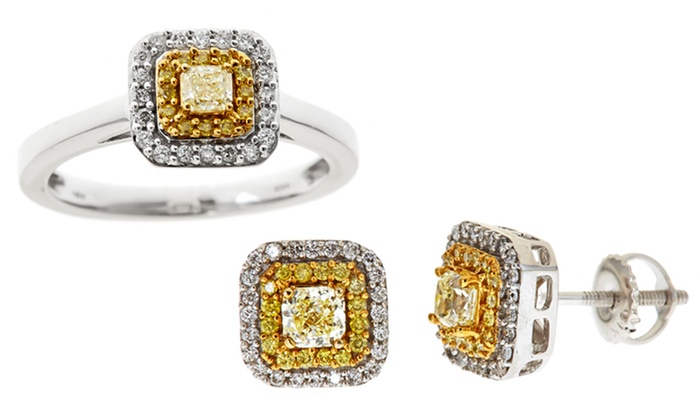 Natural Yellow Diamond Jewelry: 0.37–0.65 CTTW Natural Fancy Yellow Diamond Ring or Earrings