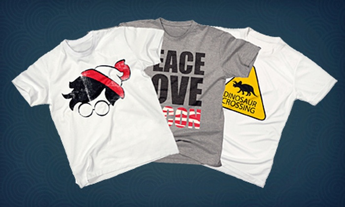Funny T-Shirt Factory: Graphic T-Shirts from Funny T-Shirt Factory (Half Off). Two Options Available.