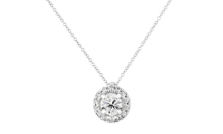 1.00 CTTW Certified Halo Diamond Pendant in 14K White Gold