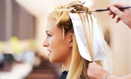 Haircut, Blow-Dry Style, and Full Highlights or Root Touchup with Color at Blu Salon and Spa (Up to 61% Off)