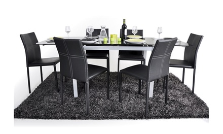 Table extensible et lot de 6 chaises empilables groupon for Table extensible 3m groupon
