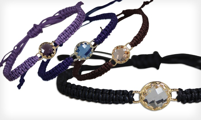 Macramé Bracelet with Glass Jewel: $8 for a Macramé Bracelet with Glass Jewel ($24.95 List Price). Four Colors Available. Free Returns.