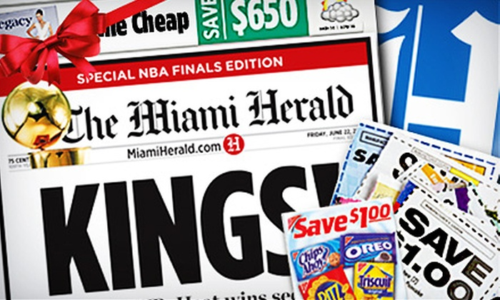 """Miami Herald: $9 for 12-Month Sunday Home Delivery to the """"Miami Herald"""" ($80.13 Value)"""