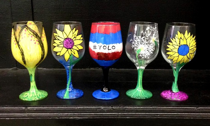 Byob wine glass painting class the artistic giraffe for Type of paint to use on wine glasses