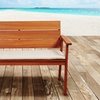 Eucalyptus Wood Patio Bench with Striped Cushion