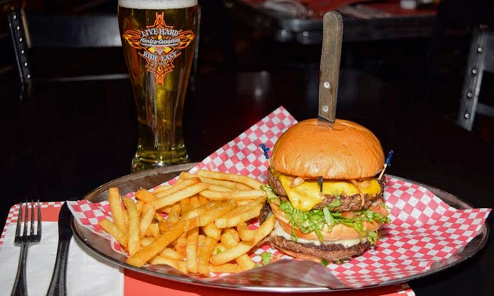 Harley-Davidson Cafe - The Strip: Burger Meal for Two or Two Souvenir Pilsners with Cocktail or Draft Beer at Harley-Davidson Cafe (Up to 40% Off)
