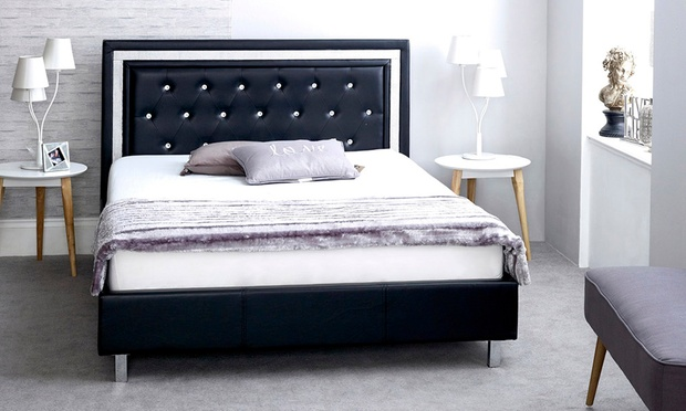 Diamante Faux Leather Double Bed Groupon Goods