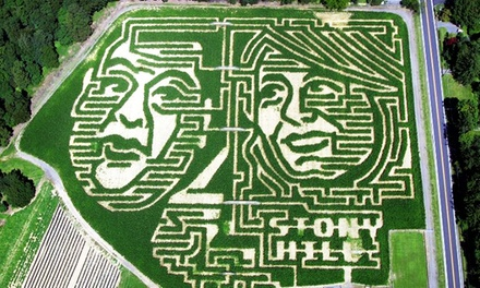 Weekend Corn Maze, Hayride, and Snacks for 2, 4, or 6, or Weekend Corn-Maze Visit for Two at Stony Hill Farms (Up to 56% Off)
