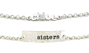 AJ's Collection: Customizable Sterling Silver Name Bar Bracelet or Mini Name Bracelet from AJ's Collection (Up to 52% Off)