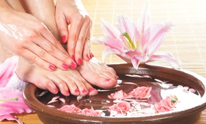 A Touch of Rain Nail Spa: One, Two, or Three Mani-Pedi Treatments at A Touch of Rain Nail Spa (Up to 64% Off)