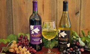 Romano Vineyard & Winery: Wine Tasting for Two or Four with Take-Home Glasses and Discount on Wine at Romano Vineyard & Winery (50% Off)